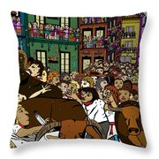Running With The Bulls 1 Throw Pillow