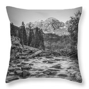 Runoff  Bw Throw Pillow