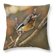 Runway Clear For Takeoff   Redbreasted Nuthatch Throw Pillow