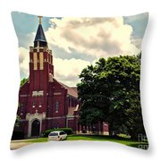 Rural Church Usa Throw Pillow