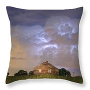 Rural Country Cabin Lightning Storm Throw Pillow