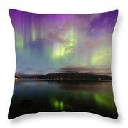 Rural Fjordland Aurora Throw Pillow