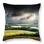 Rural Landscape Stormy Daybreak Throw Pillow