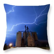 Rural Lightning Storm Throw Pillow
