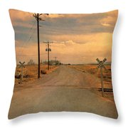 Rural Railroad Crossing Throw Pillow