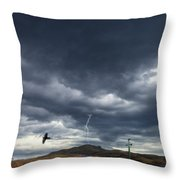 Rural Road In Lightning Storm Throw Pillow