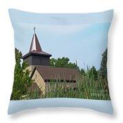 Rural Roadside Church Throw Pillow