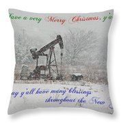 Rural Texas Christmas Throw Pillow