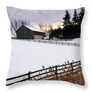 Rural Winter Landscape Throw Pillow