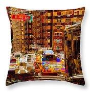 Rush Hour - Traffic In New York Throw Pillow