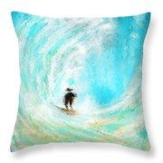 Rushing Beauty- Surfing Art Throw Pillow