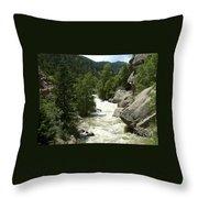 Rushing Water In Boulder Canyon Throw Pillow