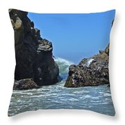 Rushing Wave - Big Sur Throw Pillow