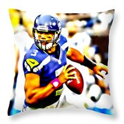 Russell Wilson In The Pocket Throw Pillow