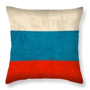Russia Flag Distressed Vintage Finish Throw Pillow by Design Turnpike