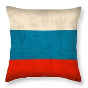 Russia Flag Vintage Distressed Finish Throw Pillow