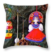 Russian Christmas Tree Decoration In Fredrick Meijer Gardens And Sculpture Park In Grand Rapids-mi Throw Pillow
