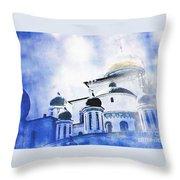 Russian Church In A Blue Cloud Throw Pillow