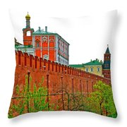 Russian Orthodox Church From Park Outside The Kremlin In Moscow-russia Throw Pillow