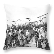 Russian Women Go To The Fields Throw Pillow