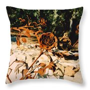Rust And Roses Throw Pillow
