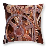 Rust Gears And Wheels Throw Pillow