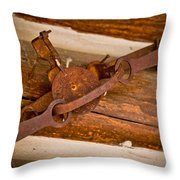 Rust Trapped On A Log - Old Trap - Casper Wyoming Throw Pillow