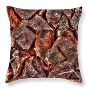 Rusted Bolt In The Rocks Throw Pillow