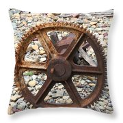 Rusted Gear Wheel Glacier National Park Montana Throw Pillow