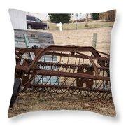 Rusted Hay Rake Throw Pillow
