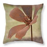 Rusted Iron Flower Throw Pillow