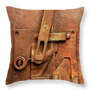 Rusted Latch Throw Pillow by Jim Hughes