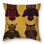 Rustic Aged 4 Owls Throw Pillow