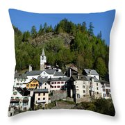 Rustic Alpine Village Throw Pillow