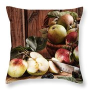 Rustic Apples Throw Pillow
