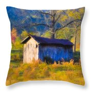 Rustic Autumn Landscape In North Georgia Throw Pillow by Mark E Tisdale