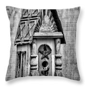 Rustic Birdhouse - Bw Throw Pillow