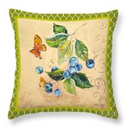 Rustic Blueberries On Moroccan Throw Pillow
