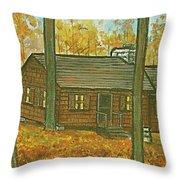 Rustic Cabin At Lake Hope Ohio Throw Pillow