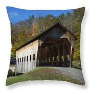 Rustic Covered Bridge Throw Pillow