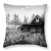 Rustic Historic Woodlea House - Black And White Throw Pillow