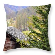 Rustic House And Tree Throw Pillow
