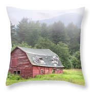 Rustic Landscape - Red Barn - Old Barn And Mountains Throw Pillow