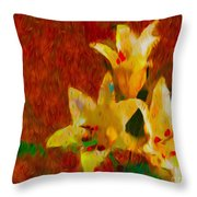 Rustic Lilies Throw Pillow