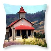 Rustic Old Schoolhouse Near San Simeon California Throw Pillow
