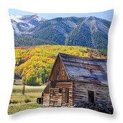 Rustic Rural Colorado Cabin Autumn Landscape Throw Pillow