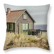 Rustic Seaside Cottage Throw Pillow