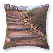 Rustic Stairway Throw Pillow