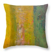 Rustic Stripes With Yellow Throw Pillow by Michelle Calkins