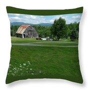 Rustic Vermont Barn Throw Pillow